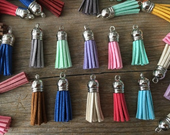 38mm Mixed Lot Silver Top Tassel Pendant, Faux Suede, Small Tassel, Blue, Pink, Mint, Charm, Keychain Accessory, Tassel Bracelet, 10 Count