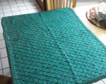 """Hand Knit Lap Blanket / 45"""" X 33""""  Baby Blanket / Blue and Green Baby Afghan / Blue and Green Throw / Green Crib Blanket / Green Baby Wrap"""