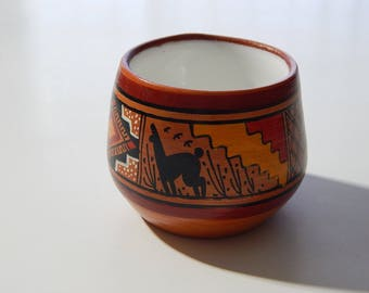 "2 1/8"" Peru Llama Ceramic Painted Miniature Bowl"
