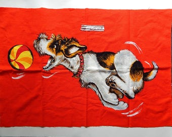 """18"""" x 26"""" Wesco-Reltex Fabric Material Dog Chasing Ball Vintage Pillowcase Front Cut Panel"""