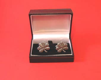 Shamrock Pewter Cufflinks Good Luck Gift St Patrick's Day Father's Day Gift