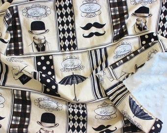 Gentleman Minky Baby Blanket, Gentleman Baby Blanket, Mustache Blanket, Toddler Blanket, Baby Boy Blanket, Baby Blanket, Minky Blanket, Boy