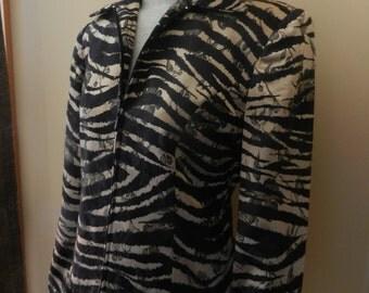Women's Vintage Gold and Black Tiger Print Jacket - Return Option Available