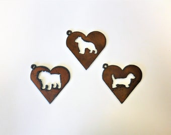 Dachshund (2) Boston Terrier Bull Dog Weiner Dog Pendant Charm made out of rusted metal