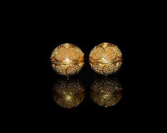 Two 12mm Gold Vemeil Bali Granulation Beads, Bali Beads, Vermeil Beads, 12mm Gold Vermeil Beads, Vermeil Bali Beads, Beads, Vermeil