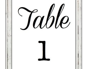 Rustic Wedding Table Numbers Printable Digital Download