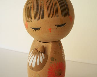 Vintage Japanese Kokeshi wooden folk art doll
