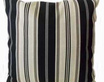 Pillow Pillows Cover Outdoor Indoor - Black Ebony Ivory Stripe Throw pillow Accent Decor Patio 14x14, 12x18