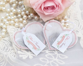 Wedding Favors Tea Bags -Heart Shaped- (50 pieces) -Pink-