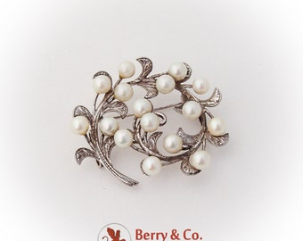 Scroll Foliate Brooch Pendant Cultured Pearls Sterling Silver