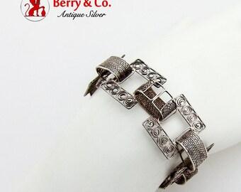 Vintage Wide Filigree Link Bracelet Sterling Silver 1930