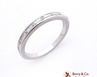 Tiffany Co Wedding Band Ring Platinum Channel Set Diamonds Vintage 1940