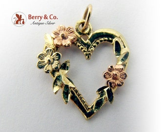 Ornate Open Heart Pendant 14 K Rose Yellow Green Gold