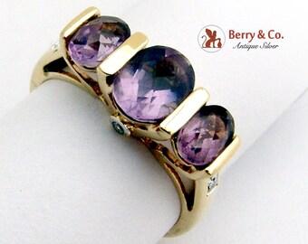 Estate Three Amethyst Ring 14 K Yellow Gold Diamond Accents