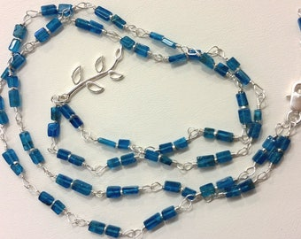 Wire-wrapped neon blue apatite sterling silver necklace