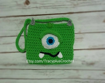 Green monster purse. Green Monster bag. Monster purse. Child monster purse. Green one-eyed monster child purse. Crochet. Handmade.