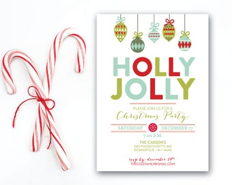 INSTANT DOWNLOAD holiday party invitation / Christmas party invitation / modern Christmas invite / bright Christmas invite / Christmas party