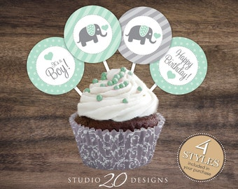 "Instant Download 2"" Mint Elephant It's a Boy Baby Shower Cupcake Toppers, Grey Mint Green Elephant Happy Birthday Cupcake Toppers 22H"