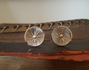 Vintage Silver Tone Star Burst & Faux Pearl Cufflinks