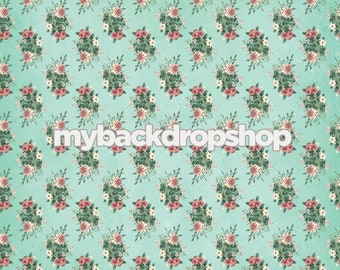 8ft X Blue Rose Floral Wallpaper Backdrop