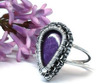 Charotite rings, jewelery charoite,Sterling silver ,Wire wrap