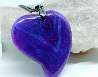 Purple Dragon Veins Agate Heart pendant