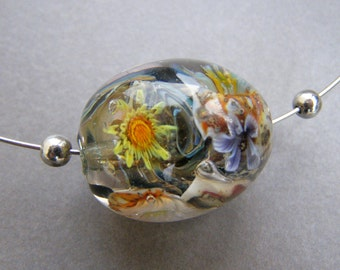 Glass flower bead-Lampwork  glass bead-Glass bead
