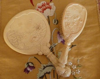 Antique Victorian Celluloid Brush and Mirror Set Dragonflies Butterflies Lily pads 1900's