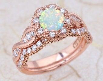 14K Vintage Rose Gold Engagement Ring And Wedding Band Bridal Set In