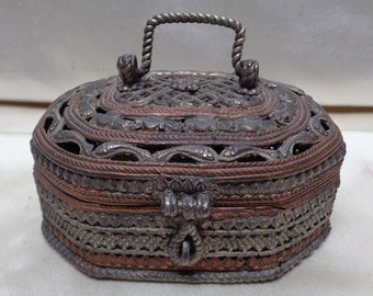 Antique Decorative Metal Box w. Very Intricate Variety of Ornate Patterns