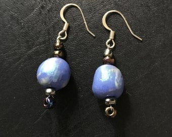 Earrings Hand Crafted, Hand Painted Blue with Green Opalescence Ceramic Beads