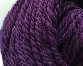 Royal Sparkle  Hand Spun Corriedale with Silver Sparkley Bling, 8-10 ply DK – Royal Purple