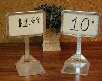 Vintage Pair Store Price Displays, Old school counter display, vintage metal countertop price display, country store counter display