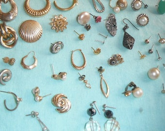 selection of single earrings with some pairs - mainly pierced - detash/craft work