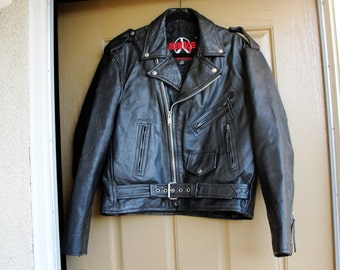 Vintage Black Leather Motorcycle / Biker Jacket MENS Size 44 Large 1980s 1990s 80s 90s distressed XL by New Age