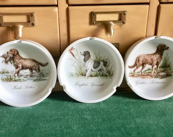 Midcentury Set of Three Ashtrays, Hunting Dogs and Game Birds, English Spaniel, Irish Setter, Golden  Retriever