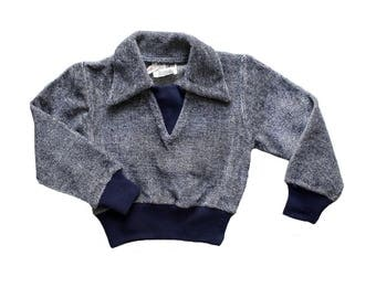 FRENCH VINTAGE 70's / kids / sweat shirt / top / navy blue velvet jersey / new old stock / size 2 years