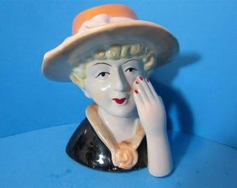 NEW Ceramic Vintage Retro Style Lady Head Sculpture Figurine 1950's Style