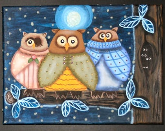 Who loves Owls? This painting is so cute! Take a look and see.
