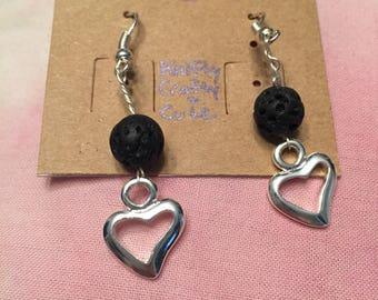 Diffuser earrings // lava stone // hearts
