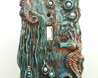 Seahorse Jeweled single switchplate, Verdigris Copper finish with pearls. Standard Switch cover, ocean theme