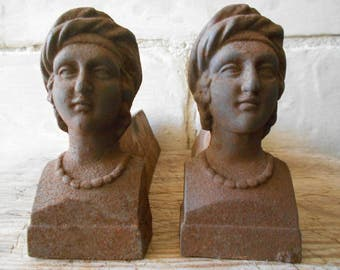 French antique andirons, pair of cast iron women firedogs, fireplace ornament, French home decor.