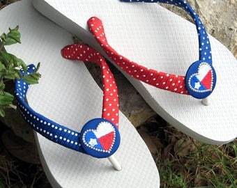 STARS & STRIPES, Patriotic Flip Flops, Red, White and Blue! 4th of July, Heart of Texas, Summer Holiday, Gifts for Her, Comfy Flats or Wedge