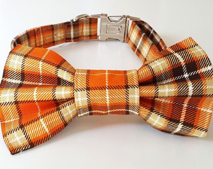 Orange Plaid Check Dog Collar and Bowtie Set
