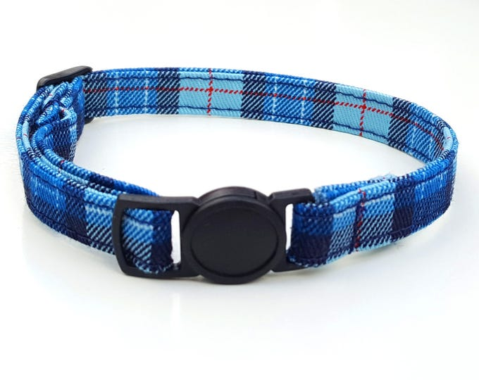 Blue plaid tartan with quick release safety clasp