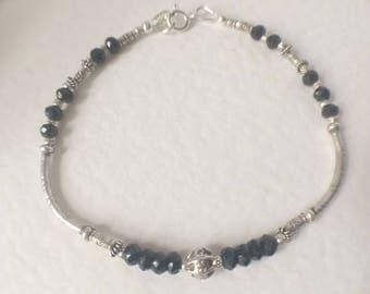 Black Spinel Beaded Bracelet, Sterling Silver Bracelet, Jewellery Gift, Silver Black Jewelry Black Gemstone Bracelet Stacker Bracelet