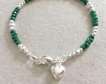 Emerald Heart Charm Bracelet, Sterling Silver Emerald Bracelet, Green Gemstone Jewellery Gift, May Birthstone Jewelry Birthday Present