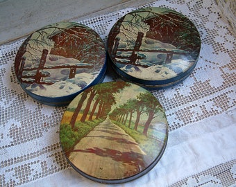 Set of 3 french vintage lithographed round candy tins. winter landscape. Craft storage. sewing storage. button box. collectors biscuit tin.