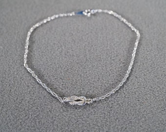 Vintage Art Deco Style Silver Tone Anklet Line Link Infinity Design Twisted Jewelry -K#6