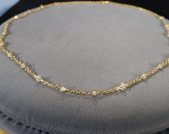 Vintage Art Deco Style Yellow Gold Tone Faux Pearl Line Link Necklace Jewelry -K#55